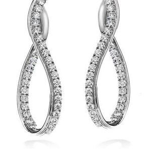Jewelry - 3.20 Carats round cut diamonds ladies Hoop earring